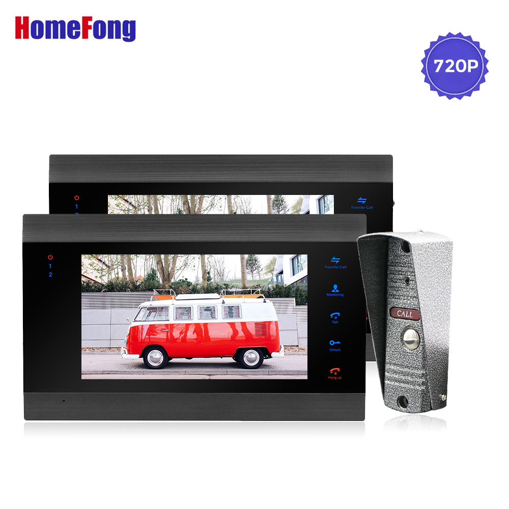 Homefong 7 Inch AHD Black Video Door Phone House Intercom with Camera Night Vision 720p Video