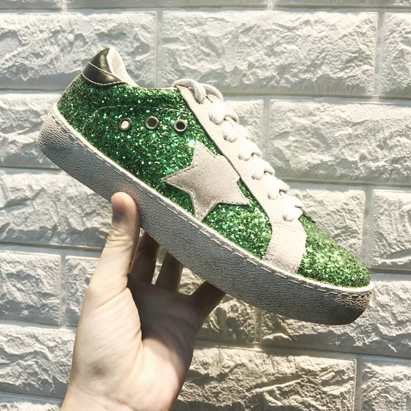 Fashion Women All Glitter Do Old Dirty Shoes Women Lace Up Breathable  Sequins Stars Casual Shoes Female Flats Shoes Size 35 40-in Women s Flats  from Shoes ... fddd9b65afbe