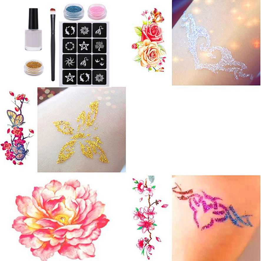 New Arrival 1Set Tattoo Kits Tool Glitter Tattoo Powder Temporary Tattoo Body Painting Kit Brushes Glue Stencils High Quality