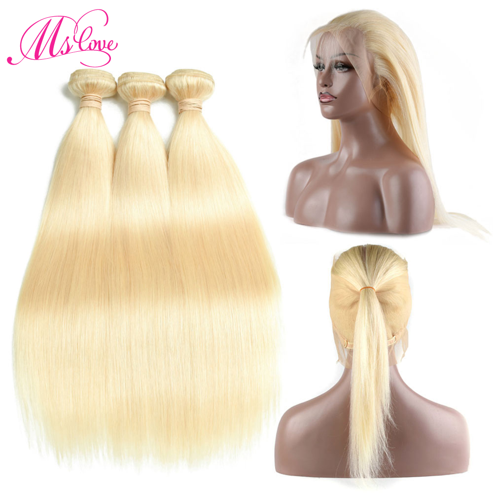 Ms Love 613 Bundles With 360 Frontal Straight Blonde Bundles With Lace Frontal Peruvian Human Hair