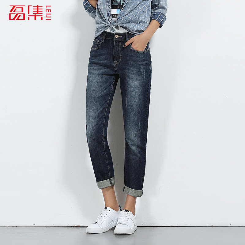 2017 LEIJIJEANS NEW Arrival jeans for women skinny style pants mid waist mid elastic Full length straight pants fashion blue 6xl 2017 leijijeans jeans women mid elastic dark blue plus size jeans with embroidery pants full length loose style straight fat mm