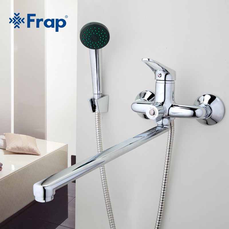 Frap Bathroom Mixer 40cm stainless steel long nose outlet brass shower faucet F2213