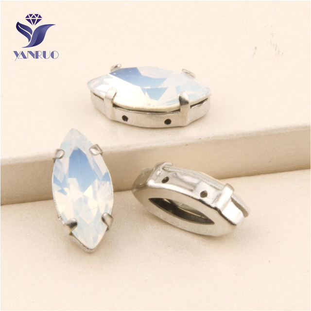 YANRUO  4200 All Sizes White Opal Navette Fancy Sew On Stones Strass  Setting Crystal Rhinestone With Claw Pointback 926817f8f1df