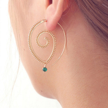 1 Pair New Golden/Silvery Women Spiral Hoop Earrings Circles Personality