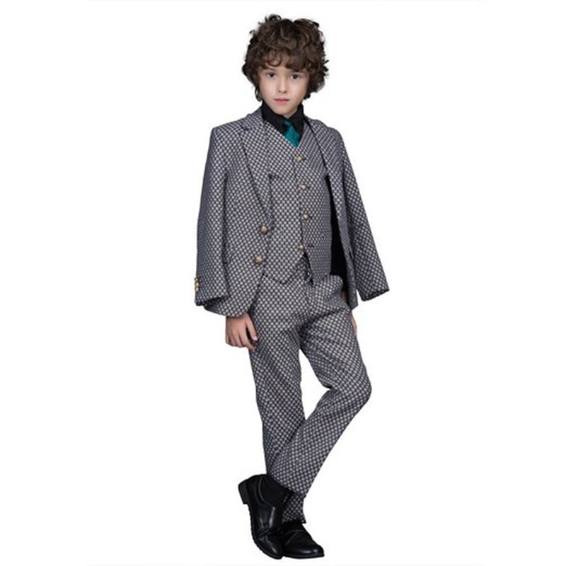 Hot Sale Honorable Lapel Kid Tuxedos Boy's Worsted Gray Color Regular Special Wedding Boys' Attire Tuxedos For Kids BA009