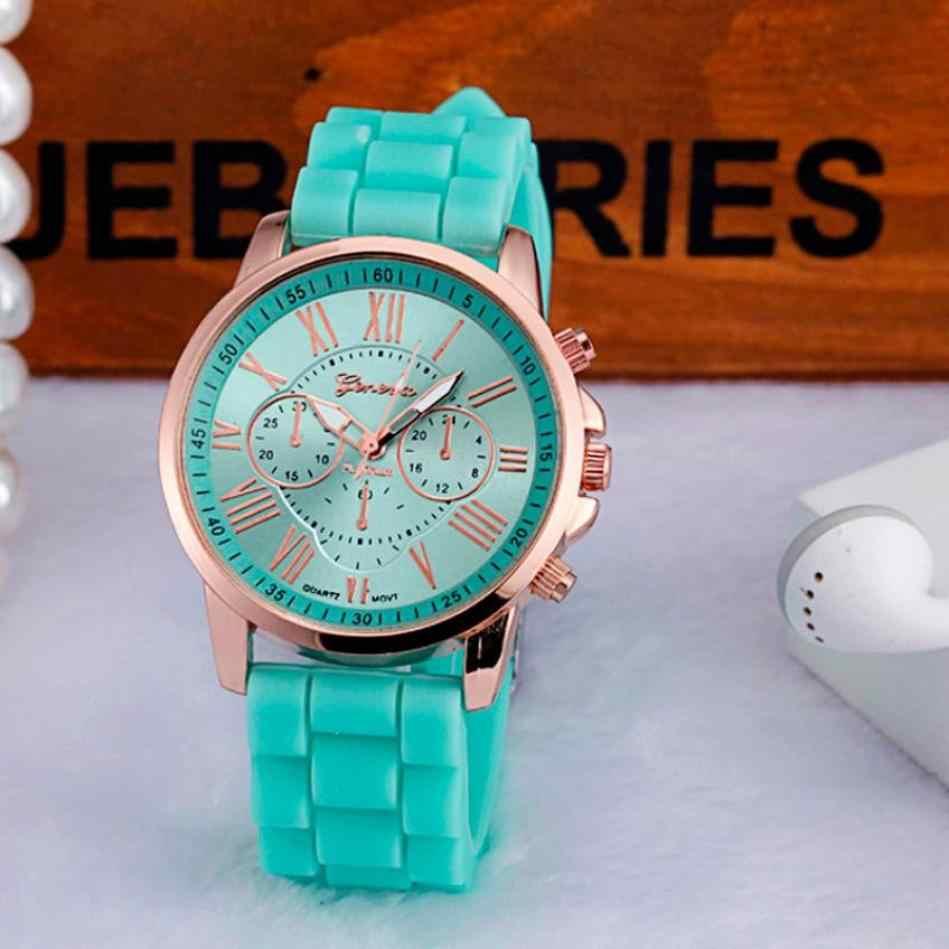 אזור זמן #301 ז 'נבה Wome של שעון ספרות רומית סיליקון ג' לי ג 'ל קוורץ אנלוגי שעון יד משלוח חינם
