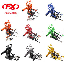 FXCNC Aluminum Adjustable Motorcycle Rearset Footrest Foot Rest Pegs Rear Sets For Ducati 1098 1098S 2007-2008 Brake Shift Pedal