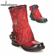 Fashion Red Women Boots Vintage Genuine Leather Flat Booties Botines Mujer Spring Autumn Straps Botas Militares Martin Boots
