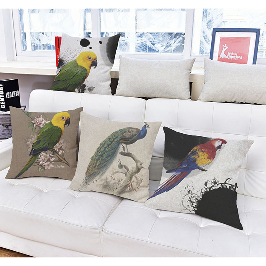 New Nordic Simple Style Peacock Parrot Print Back Cushion High Quality Cotton Linen Square Throw Pillow Pillowcase Home Decor