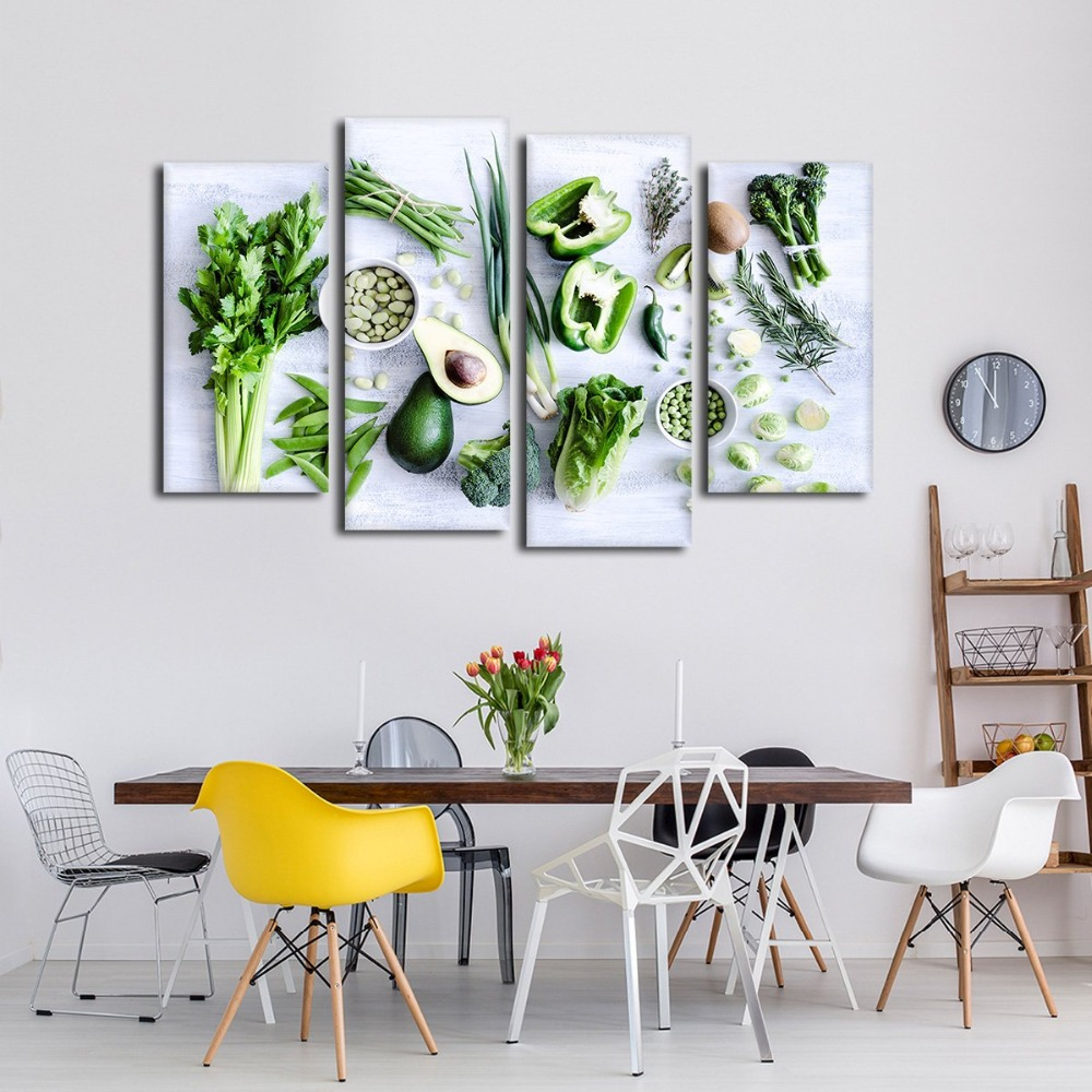 Modular Canvas HD Printed Pictures Kitchen Decor 4 Pieces