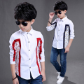 2017 spring and autumn hot fashion children's cotton shirt boy 4-13 year old grid stitching wild shirt