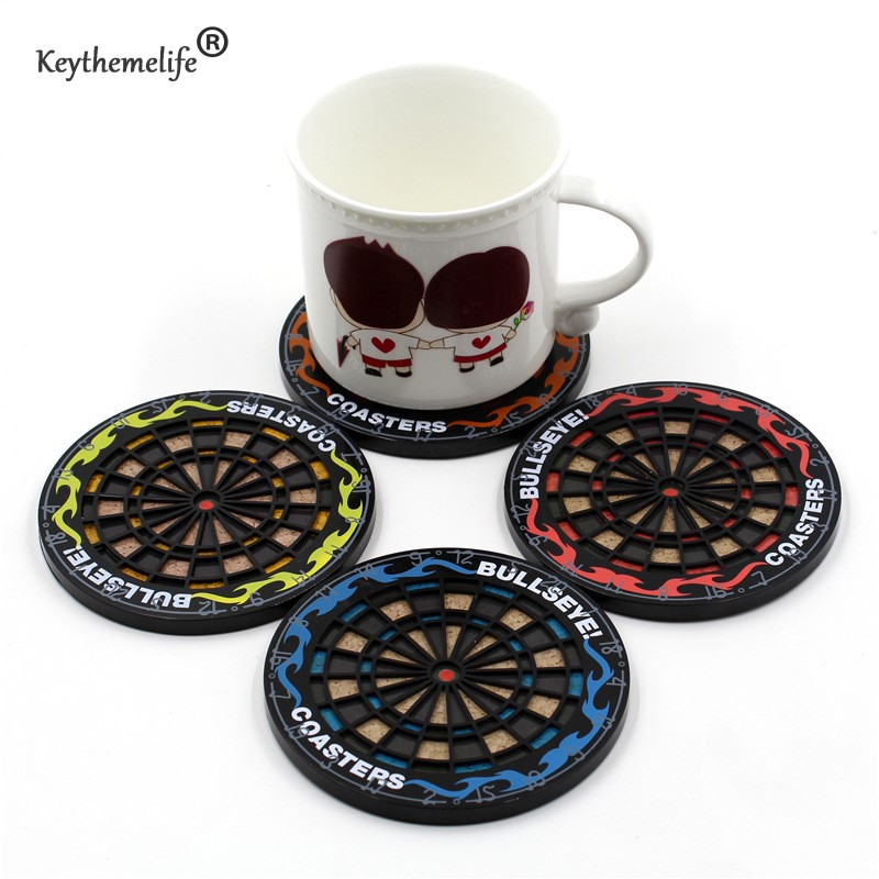 Keythemelife 4pcs/Set Round Dart Plate Coasters Placemat Cup Mat Bar Mug Drink Pads Cup Holder E0
