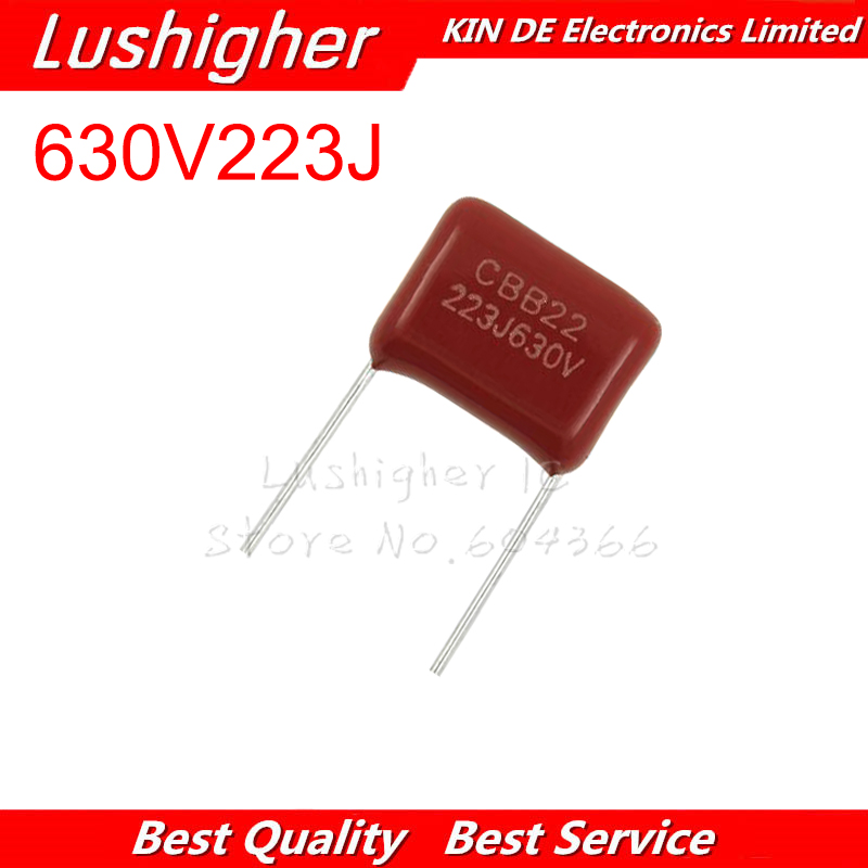 10PCS 630V223J 22NF Pitch 10MM 223 630V 223J 0.022uF CBB Polypropylene Film Capacitor