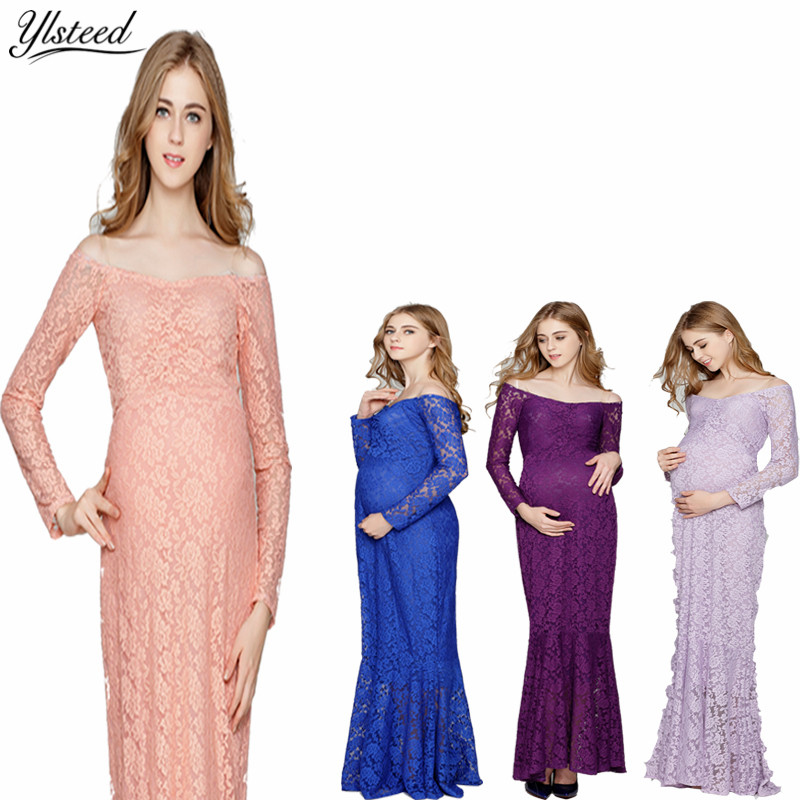 Maternity Photography Props Sexy Off Shoulder Lace Maternity Photo Shoot Dress Maxi Maternity Gown Pregnant Women Mermaid Dress все цены