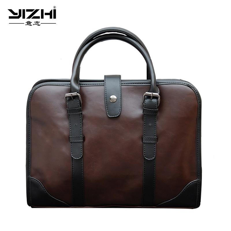 Herrentaschen Genossenschaft Yizhi 2018 Business Herren Aktentasche Hochwertige Pu Leder Schulter Tasche Computer Tasche Tragbare Dunkelbraun Handtasche Schrumpffrei