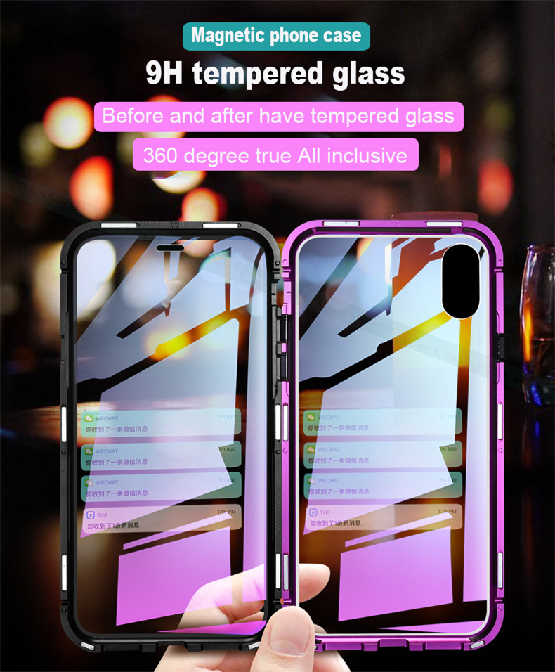 Magnetic Magnet clear  tempered glass Metal phone cover case 05
