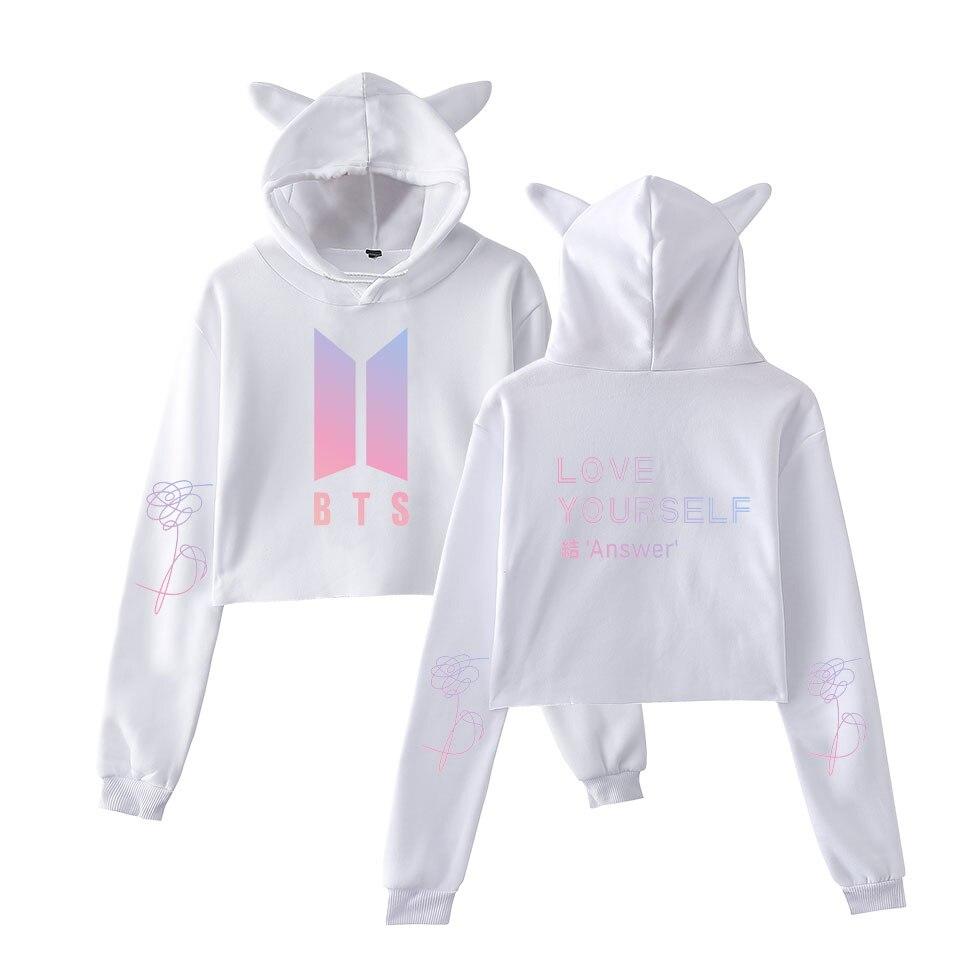 Faithful 2018 Harajuku Bts Idol Bts Love Yourself Hoodie Sweatshirt Women Men Jungkook/v/jimin Cool Women Kpop Crop Top Cat Hooded 2xl Women's Clothing