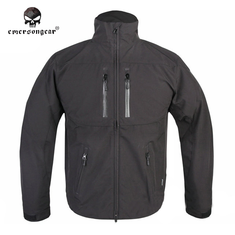 ФОТО Emersongear SoftShell Jacket Coat Breathable Perspiration Emerson Outdoor Light Military Autumn Winter EM6810B Black