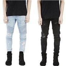 Представляем slp jeans уничтожено синий/черный skinny деним рваные байкер дизайнер прямые