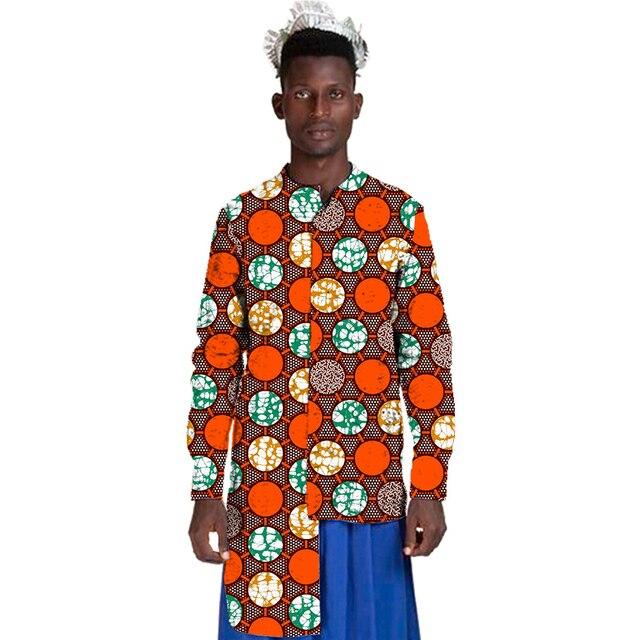 Стенд воротник Африканской печати рубашки мужские мода асимметричный дизайн вершины dashiki одежда