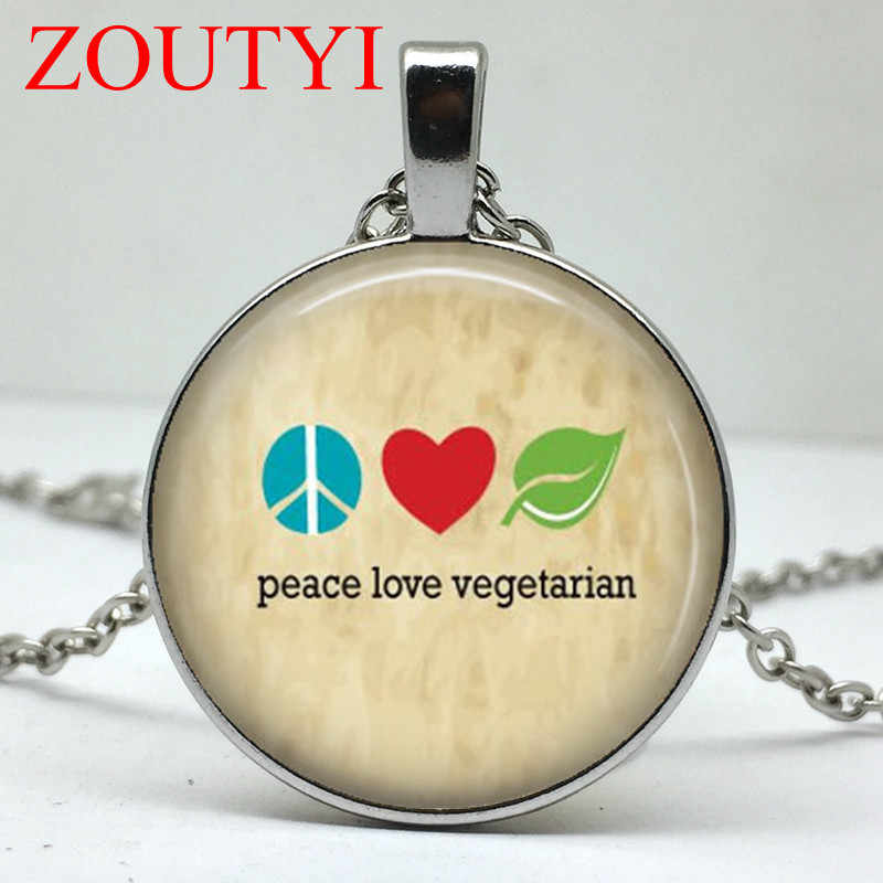 2018 / Charm Vegetarian Necklace, Animal Rights Vegan Pendant, Peace Love Vegetarian Jewelry, Animal Activist Necklace