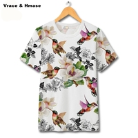 Chinese Style Flower Bird Pattern Fashion Big Size Short Sleeve T Shirt Summer 2017 New Exquisite