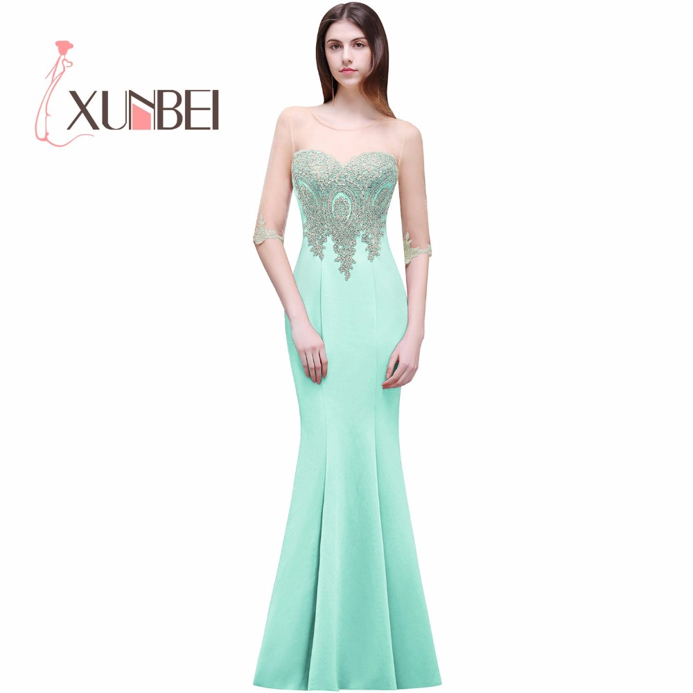 Demoiselle d'honneur Half Sleeves Mermaid Cheap   Bridesmaid     Dresses   Long 2017 Appliqued Prom Party   Dresses   Robe de soiree