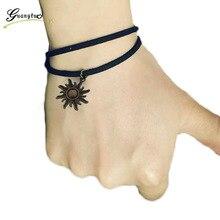 1Pcs Sun Flower Shape Bracelets & Bangles Gothic Punk Black Velvet Suede Leather Pulseiras Women Sun Bracelet Jewelry Bijoux