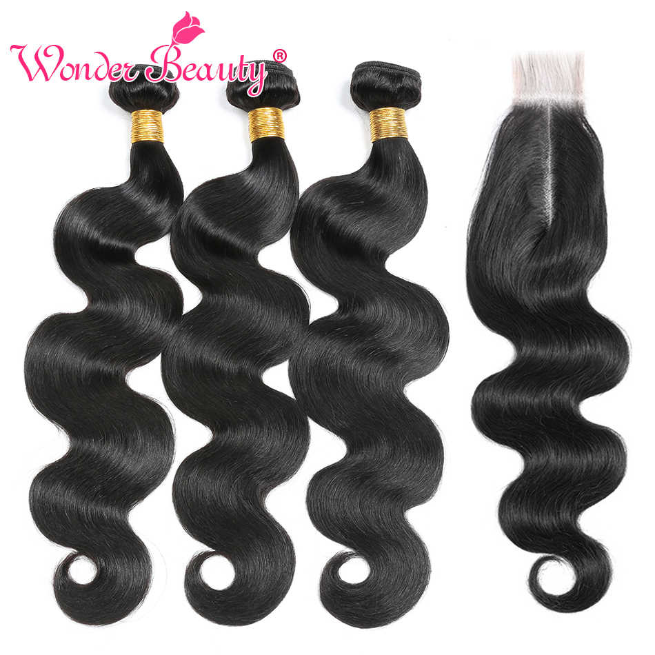 Brazilian Body Wave Bundles With 2x6 Closure Wonder Beauty Brazilian Hair Weave Bundles With Closure Remy Human Hair Bundles