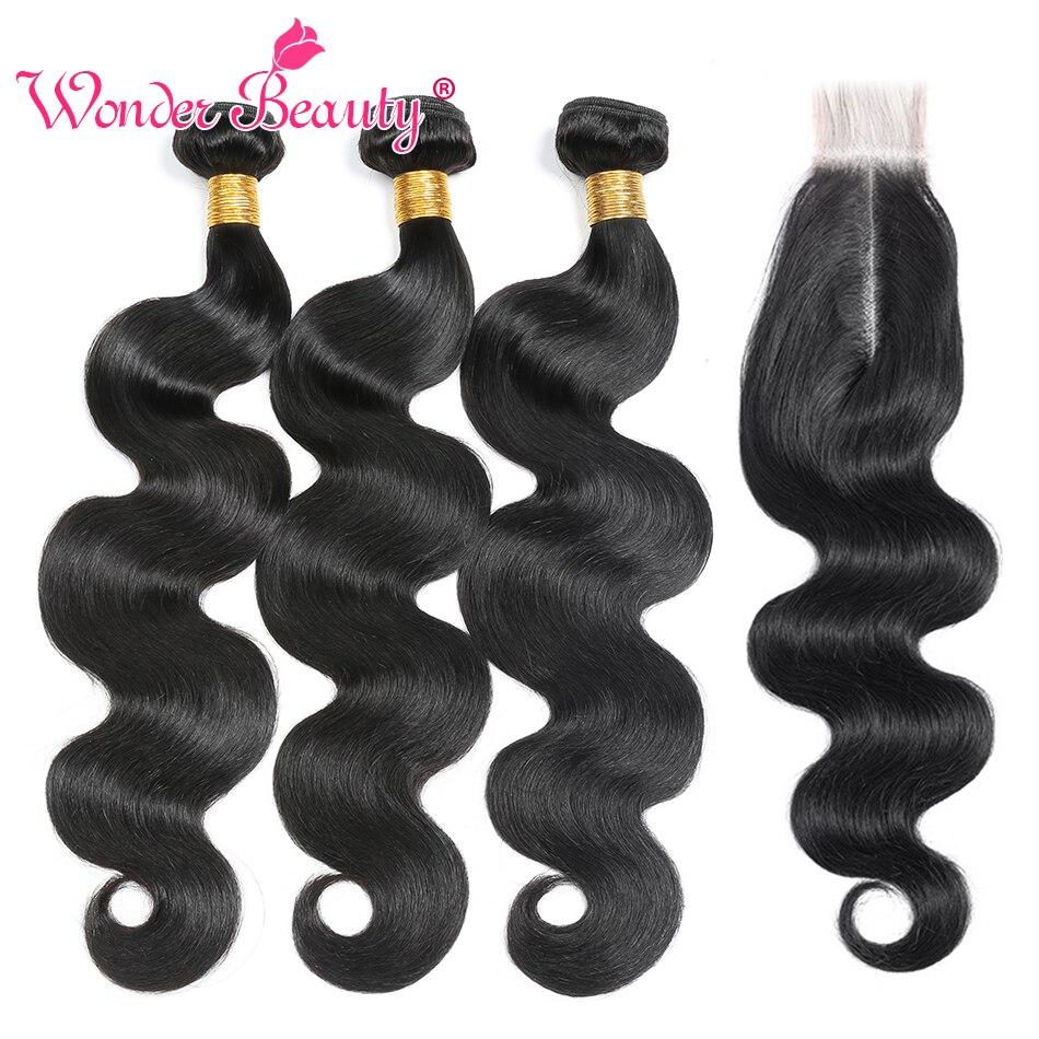Brazilian Body Wave Bundles With 2x6 Closure Wonder Beauty Brazilian Hair Weave Bundles With Closure Remy Human Hair Bundles