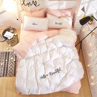 2018 bedding set queen size pure cotton embroidered ropa de cama bed linen cotton duvet cover simple fashion home textiles