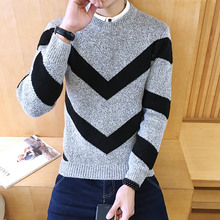 New 2016 New Autumn Fashion Brand Casual Sweater O-Neck Striped Slim Fit Knitting Mens Sweaters And Pullovers Men Pullover Men Large