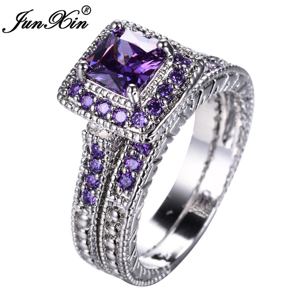 JUNXIN Elegant Purple Ring Set White Gold Filled Wedding ...