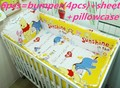Promotion! 6PCS Winnie cribs for babies 100% Cotton Curtain Crib Bumper Baby Bedding Sets ,include(bumpers+sheet+pillow cover)