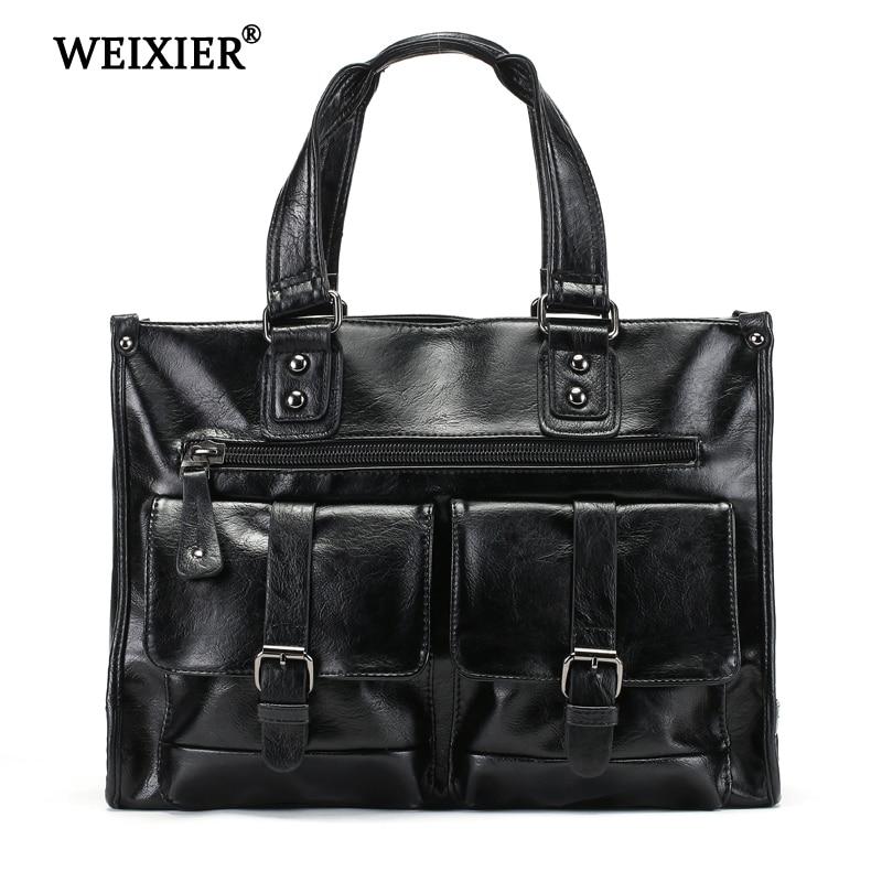 WEIXIER 2019 New Vintage Fashion Messenger Bags Men Laptop Briefcase Handbag Mens high quality Office
