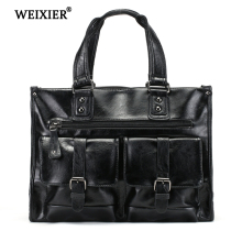 WEIXIER 2019 New Vintage Fashion Messenger Bags Men Laptop Briefcase Handbag Mens high quality Office
