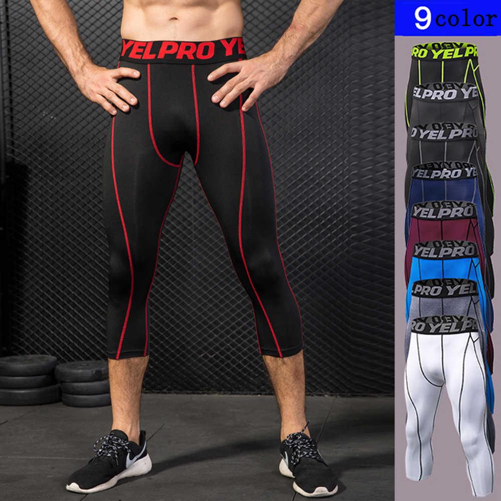 e282e7d370c46 Mens Joggers Sexy Tight Pants Men Compression Pants Ankle 7 points pants  Male Trousers Casual Sweatpants