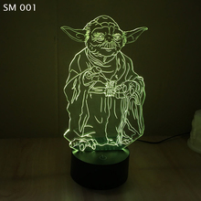 Hot Sale Star Wars Yoda Colorful 3D touch lamp LED atmosphere gradual nignt lights energy-saving visual perspective lamps