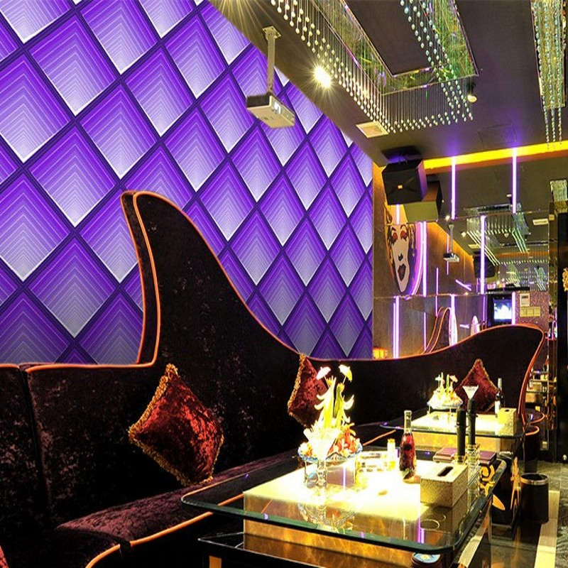 Free Shipping Colorful purple bright color KTV bar hotel wallpaper front desk entertainment club living room bedroom wallpaper