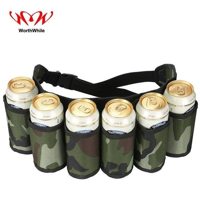 WorthWhile 6-Pack Beer Belt Camping Picnic Waist Bag Outdoor Hiking Men Portable Drinking Wine Bottles Beverage Can Handy Holder