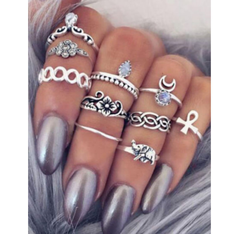 10PCS Vintage Moon Flower Knuckle Ring Set Female Anillos Gold Silver Midi Finger Rings For Women Anel Jewelry