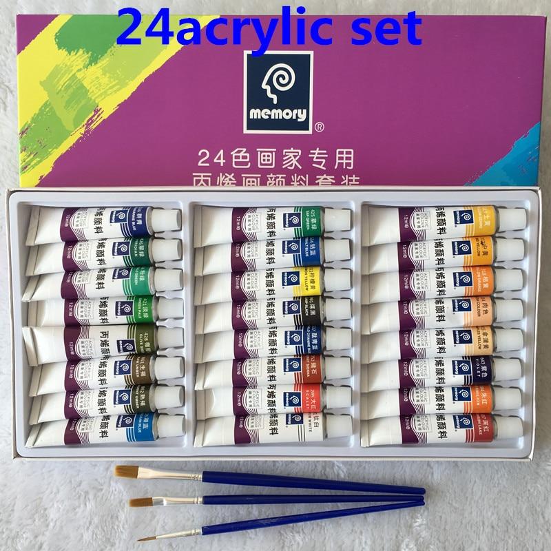 Professional 24pcs/set Paint Acrylic Paint Tube Set Nail Art Painting Drawing Tool For Artist Kids DIY Design Free For Brush цена