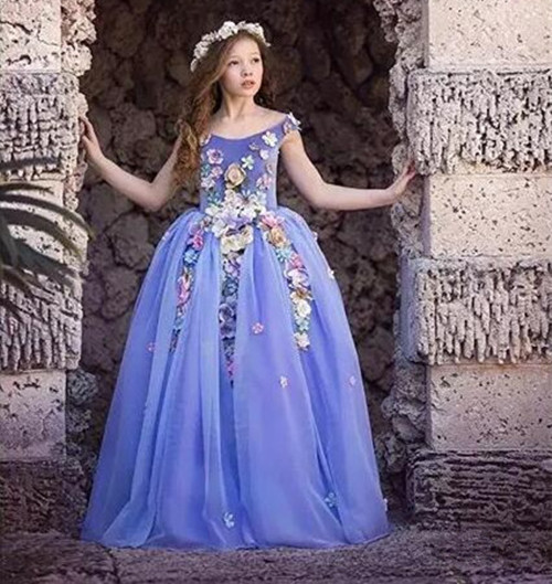 Purple Customized Flower Girls Dresses Jewel Neckline Sleeveless Kids Formal Wear For Wedding 3D Applique 1pcs fabric flower venise lace sewing applique lace collar neckline collar applique diy craft neckline sewing accessories 01 09