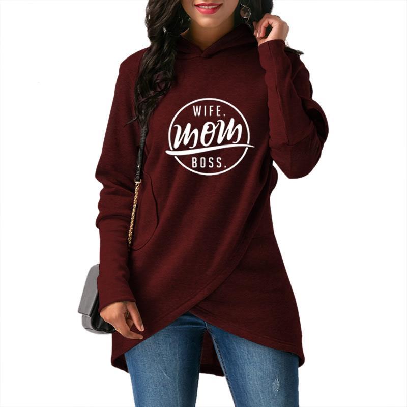 2018 New Fashion Wife Mom Boss Print Hoodies Women Kawaii Sweatshirt Femmes Tops Cotton Girls Corduroy Thick Buckle Comfortable