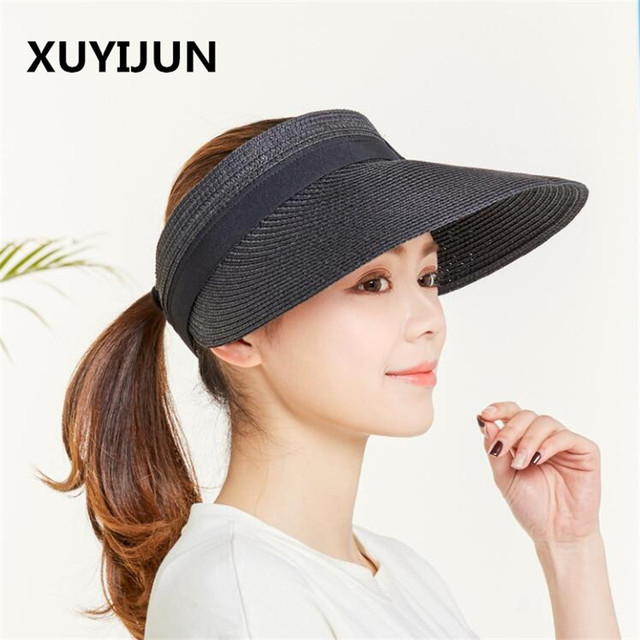 Xuyijun New Spring Summer Visors Cap Foldable Wide Large Brim Sun Hat Beach  Hats for Women Bow Straw Hat cfcc059b926