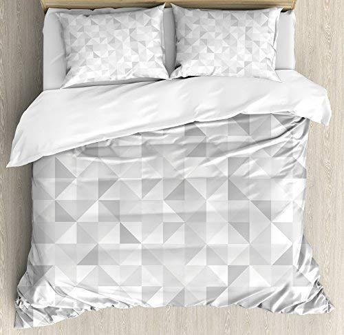 Parure housse de couette taille reine grise par Ambesonne Cubes délavés carrés mosaïque géométrique et Triangles couleur mouvement imprimé dégradé