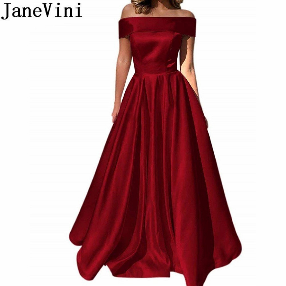 JaneVini Off Shoulder   Evening     Dresses   With Pockets Ladies Satin Gown Elegant Long A Line Celebrity Prom Formal Party   Dress   2019