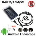 OD7mm Объектив USB Android Камеры Эндоскопа 5 М 3.5 М 2 М 1 М Смартфон OTG USB Инспекции Бороскоп Змея Android Пинхол 6LED камера