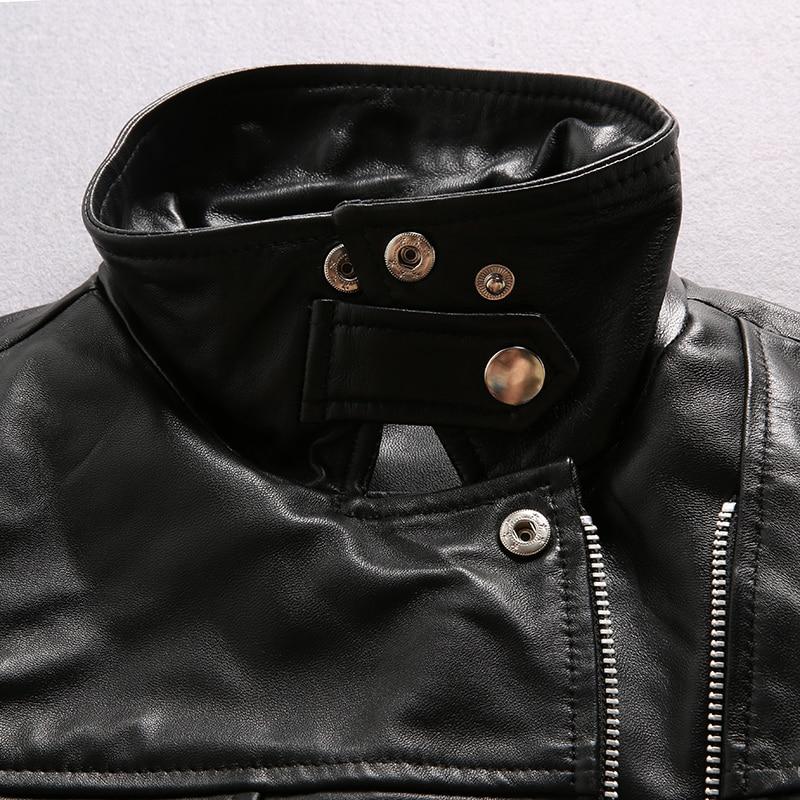 Slim Femme Manteau Femmes En Moto Veste Mouton Cuir Vêtements Nouveau 2017 Véritable Lady Vestes Peau De Court Noir a6OqRxwHn