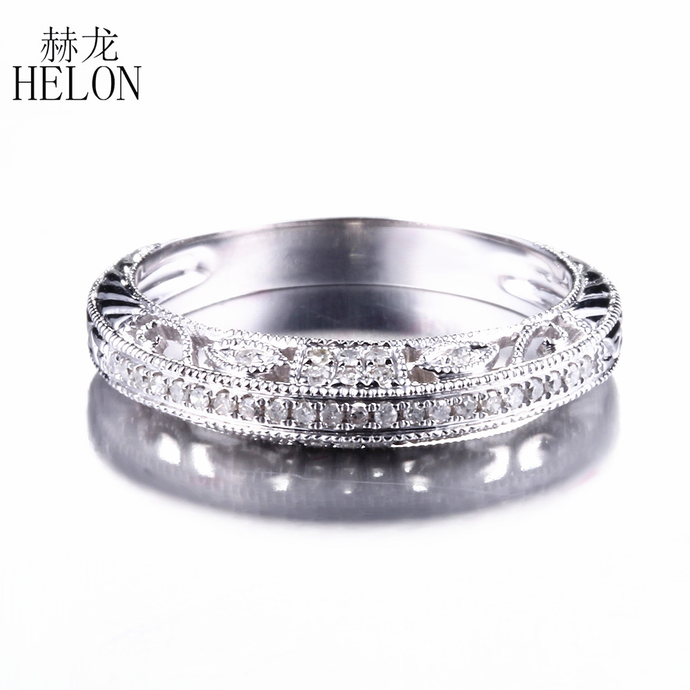 HELON Solid 14K White Gold 100% Genuine Natural Diamonds Ring For Women Half Eternity Wedding Ring Women Vintage Trendy Jewelry trendy environmental alloy openwork width ring for women